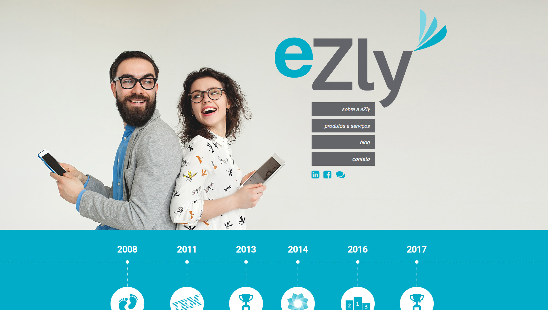 eZly Tecnologia website layout